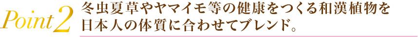 Point2冬虫夏草やヤマイモ等の健康を作る和漢植物を日本人の体質に合わせてブレンド